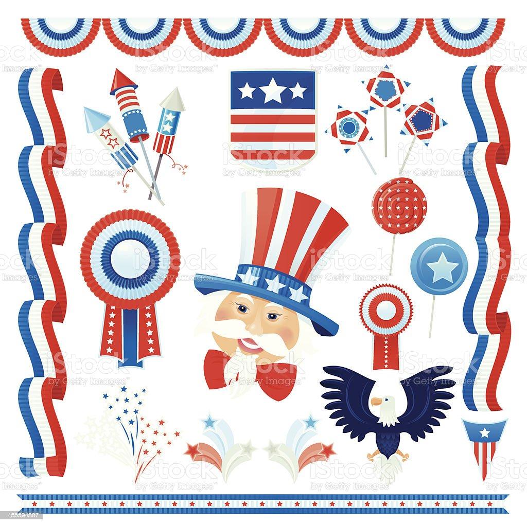 Set of July 4 vector art illustration