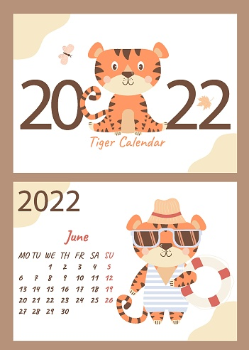 set of June 2022 calendar and cover. Cute tiger cub in sunglasses, striped swimsuit, beach hat and lifebuoy.  Vector illustration. horizontal A4 template. Week starts on Monday. Year of the Tiger in Chinese or oriental