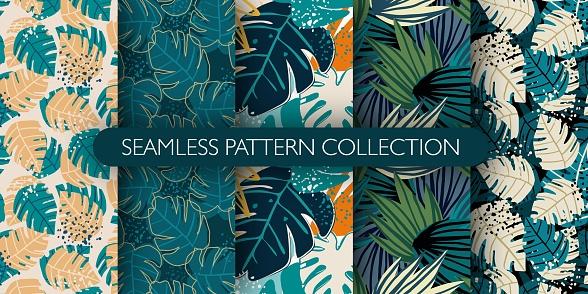 Set of jungle exotic leaves seamless pattern. Hand drawn tropical leaf wallpaper. Creative botanical vector illustration.