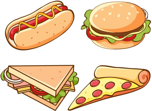 Set von Junk-Food auf weißem Hintergrund – Vektorgrafik