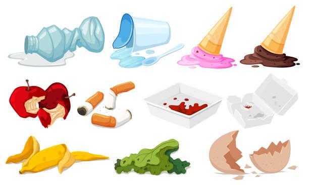 illustrazioni stock, clip art, cartoni animati e icone di tendenza di set di posta indesiderata su sfondo bianco - cicca sigaretta