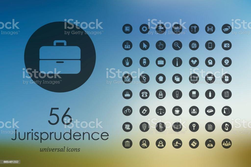 Set of jurisprudence icons vector art illustration