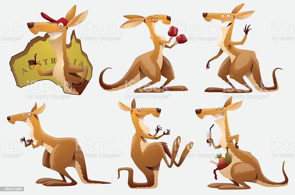 Set of Kangaroos royalty-free set of kangaroos stock illustration - download image now