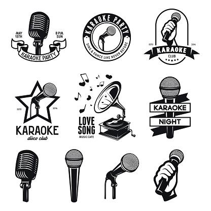 Set of karaoke related vintage labels, badges and design elements