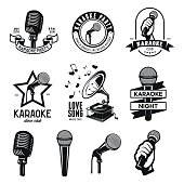 Set of karaoke related vintage labels, badges and design elements