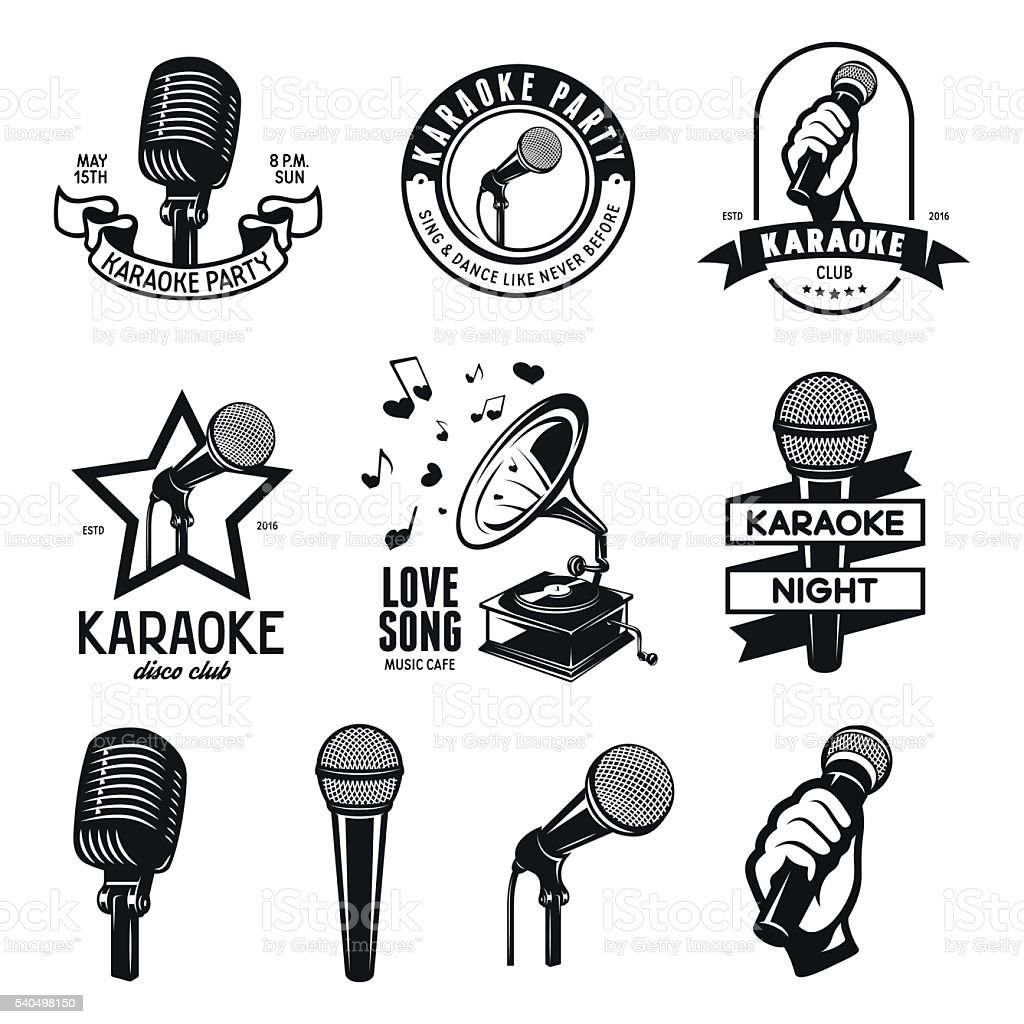 Set of karaoke related vintage labels, badges and design elements vector art illustration