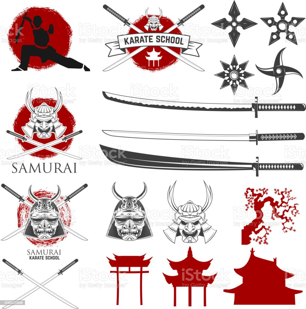 Set of karate school labels, emblems and design elements. Katana vector art illustration