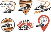 Set of kart racing logo