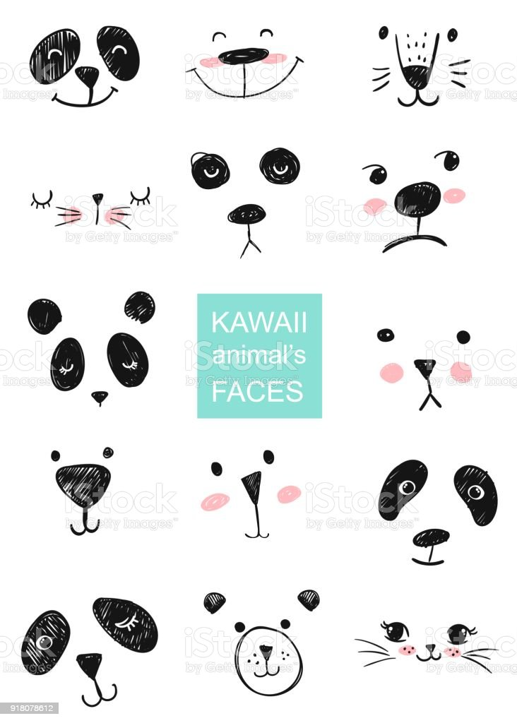 Image of: Design Vector Set Of Kawaii Animals Faces For Shirt Notebooks Card Fabric Fashion Design Trendy Vector Illustration Drawing With Tablet Istock Set Of Kawaii Animals Faces For Shirt Notebooks Card Fabric