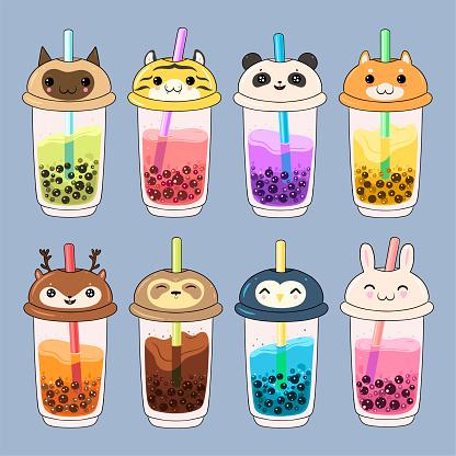 Set of kawaii bubble tea with animal faces. Vector graphics.
