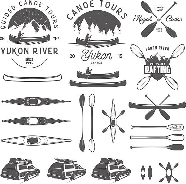 set of kayak and canoe emblems, badges and design elements - kayaking stock illustrations, clip art, cartoons, & icons