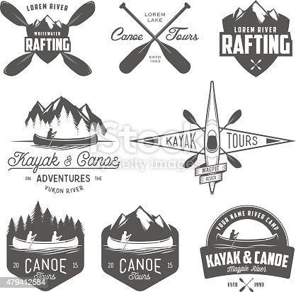Set of kayak and canoe emblems, badges and design elements.