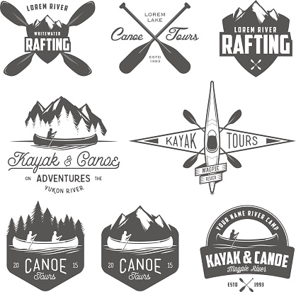 Set of kayak and canoe emblems, badges and design elements.
