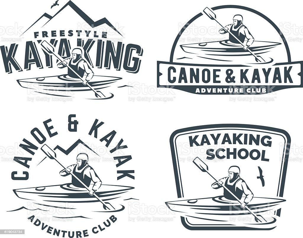 Set of kayak and canoe emblems - ilustración de arte vectorial