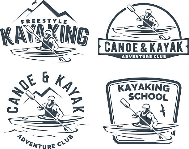 set of kayak and canoe emblems - kayaking stock illustrations, clip art, cartoons, & icons