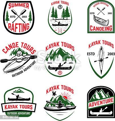 Set of kayak tours emblems. Kayaking, canoeing. Design element for emblem, sign, label. Vector illustration