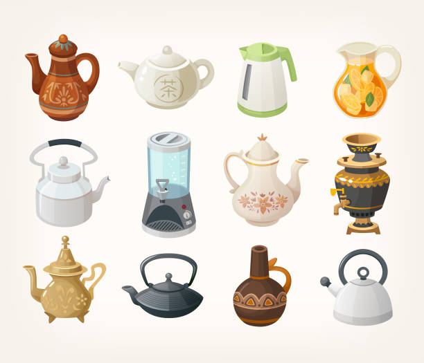 Set of kettles Set of different kinds of tea kettles from all over the world. Vector illustrations for your designs. teapot stock illustrations