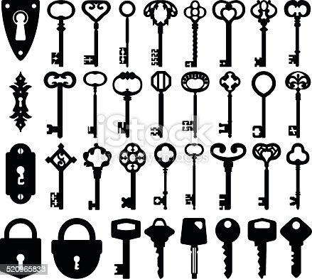 Set of keyholes, modern keys, decorative old keys and locks icons.