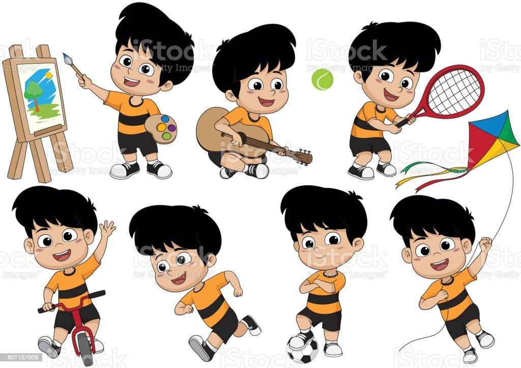 Satz Von Kind Aktivitat Kid Ein Bild Zu Malen Gitarre