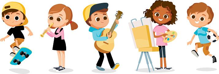 Set of kid, child cartoon characters. Children's hobbies.