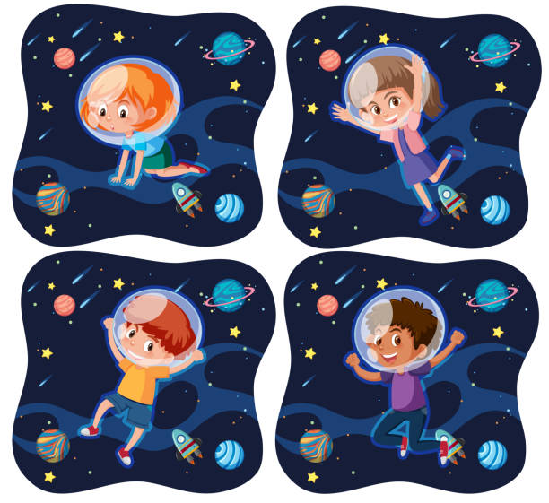 set of kid exploring space - space background stock illustrations