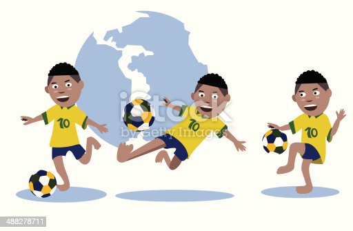 istock Set of kid play soccer ball 488278711