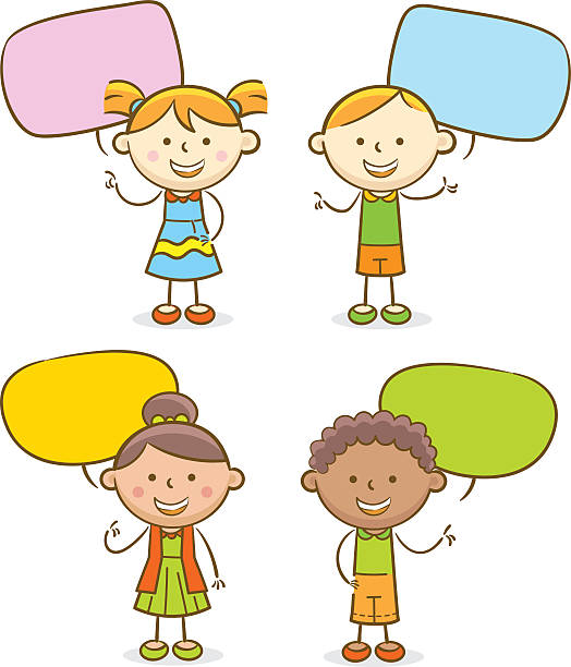 Royalty Free Group Of Kids With Speech Bubbles Clip Art ...