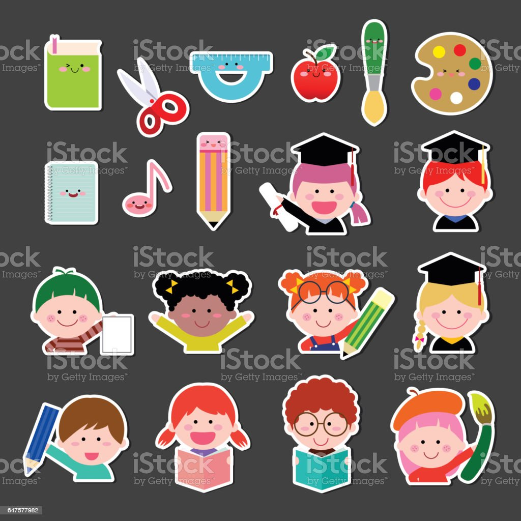 Set of kids and education icon vector art illustration