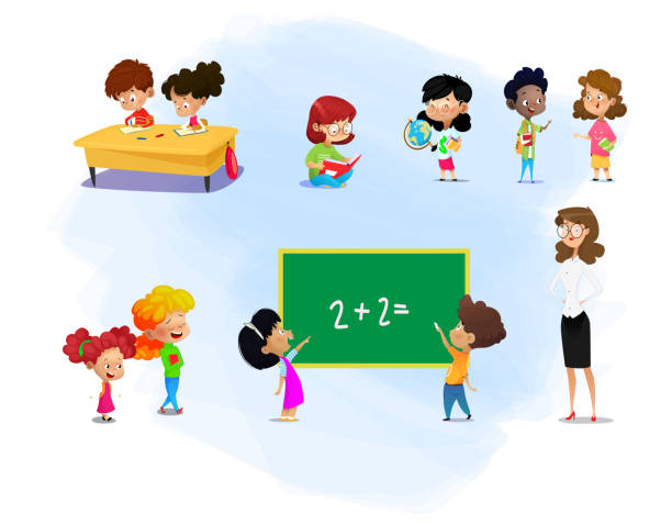 set of kids and their teacher with school supplies. - primary school stock illustrations, clip art, cartoons, & icons