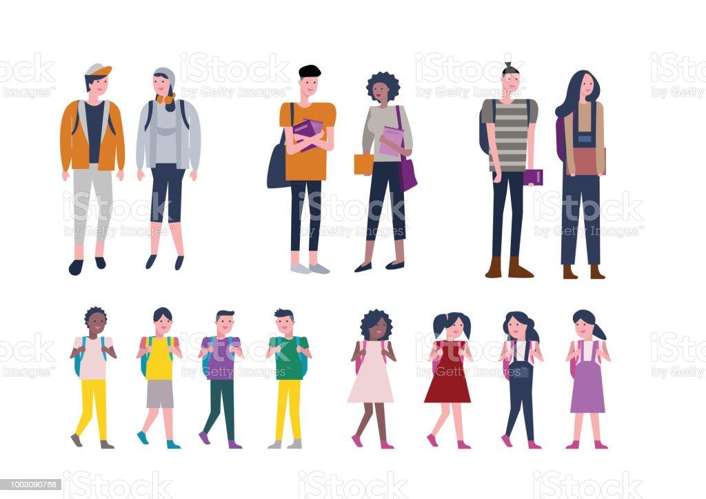 Set of kids and Young people back to school. Student Character design. vector illustration векторная иллюстрация