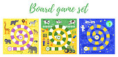 Vector flat style set of kids boardgame; zoo, farm and space theme game. For print. Square composition.
