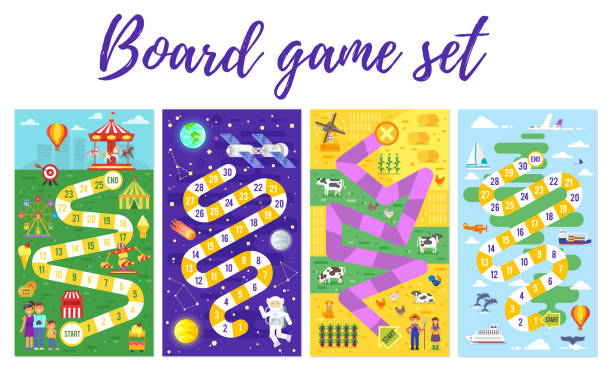 set of kids boardgame; - journey vector stock illustrations, clip art, cartoons, & icons