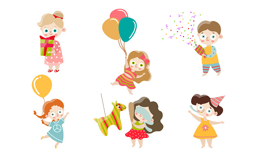 Set of kids celebrating and having fun at the birthday party. Vector illustration in flat cartoon style.