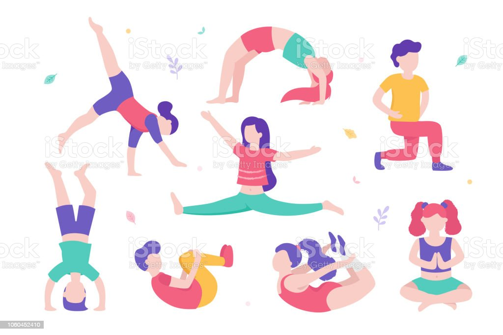 Set Of Kids Doing Sports And Physical Exercises Vector Flat Desing Illustration Stock Illustration Download Image Now Istock