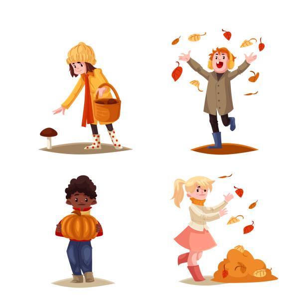 bildbanksillustrationer, clip art samt tecknat material och ikoner med set of kids enjoying outdoor fall autumn activities - höst plocka svamp