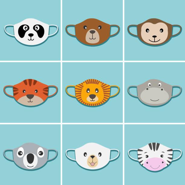 satz von kindern gesicht masken mit tieren gesichter. - ffp2 maske stock-grafiken, -clipart, -cartoons und -symbole