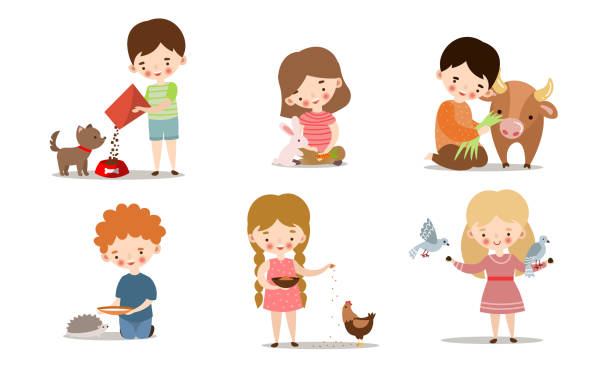 Set of kids feeding and taking care of wild and pet animals. Vector illustration in flat cartoon style. Collection set of cute little boys and girls feeding animals. Adorable kids caring for wild and domestic animals concept. Isolated icons set illustration on a white background in cartoon style. foraging stock illustrations