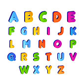 set of Kids font alphabet vector in colorful design. Cartoon Alphabetical letters for baby
