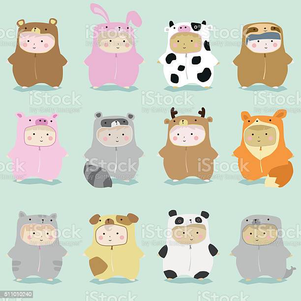 Set of kids in cute animal costumes 1 vector id511010240?b=1&k=6&m=511010240&s=612x612&h=wdt8hvixiu6jnw83uzfgtr76wltrxkgqahw96ww416e=