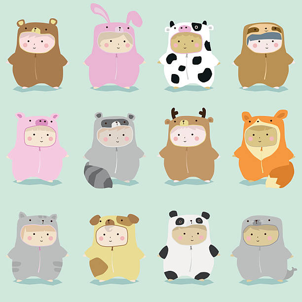 Set of kids in cute animal costumes 1 Set of kids in cute animal costumes 1 , vector , illustration baby sloth stock illustrations