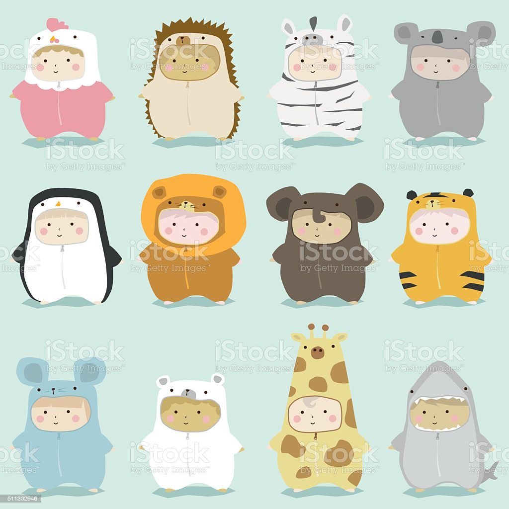 Set of kids in cute animal costumes 2 vector art illustration