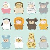 Set of kids in cute animal costumes 2