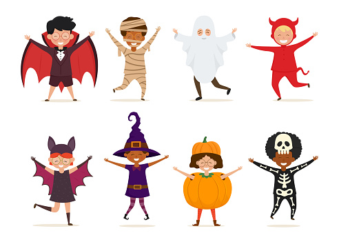 Set of kids in Halloween costume. Vector cartoon characters isolated on white background.