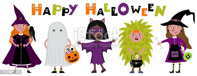 Isolated vector illustration. Girl in a witch costume - cloak and witch hat. Halloween greeting card.