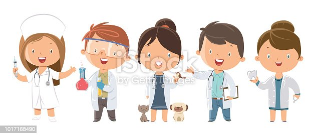 istock Set of kids Medicine and Healthcare Professions 1017168490