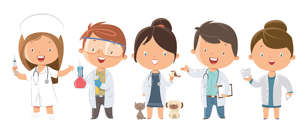 Set of kids Medicine and Healthcare Professions