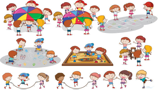 a set of kids playing at playground - jumping stock illustrations