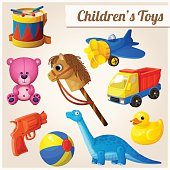 Set of kid's toys. Cartoon vector illustration.
