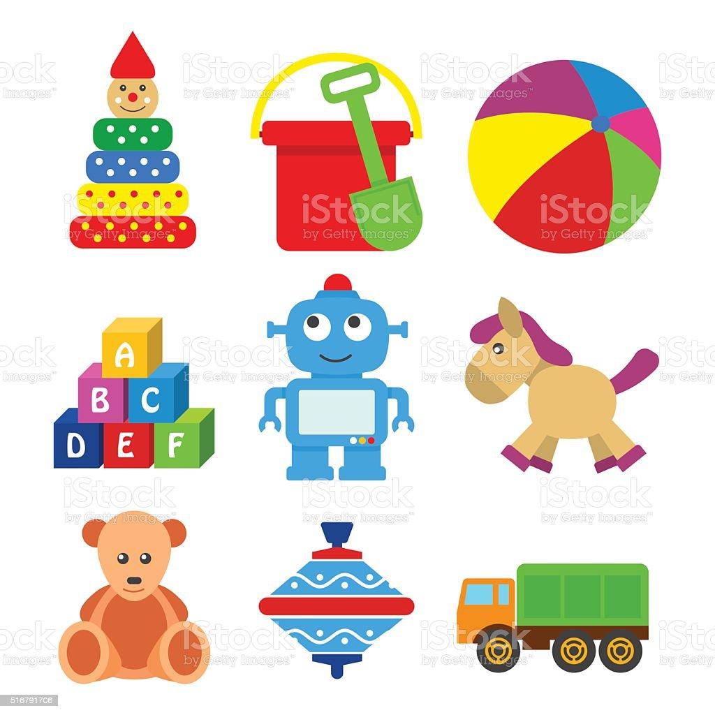 Conjunto de brinquedos para crianças em uma TV grande estilo. - ilustração de arte em vetor