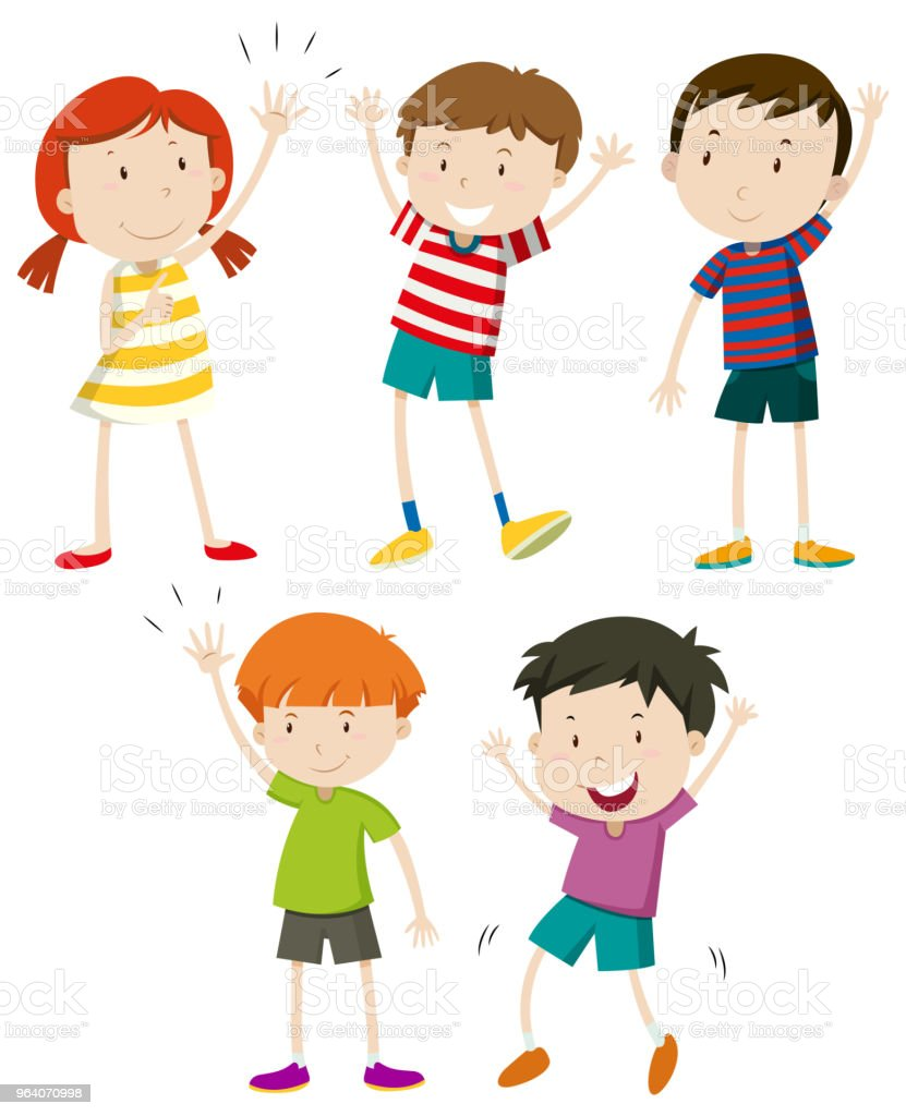 A Set of Kids Waving - Royalty-free Art stock vector